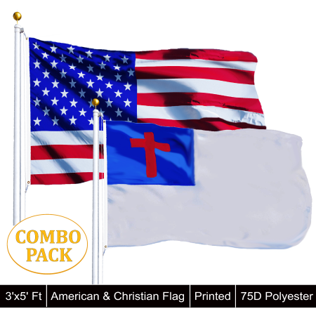 G128 - Wholesale LOT of 3' X 5' USA AMERICAN & Christian Religious Flag Wholesale Decorative Flags