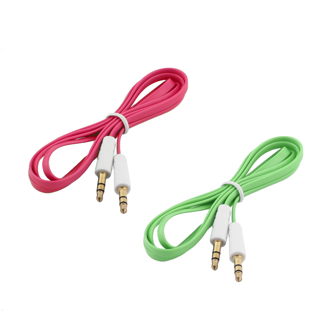 2pcs 3.3ft Plastic 3.5mm Male to Male Outdoor Plug Audio Cable Fuchsia Green