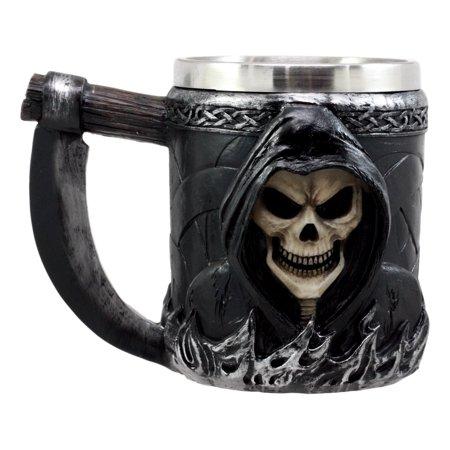 Ebros Gift Death Grim Reaper Coffee Mug With Scythe Handle Day Of The Dead Skeleton Reaper Skull Beer Stein Tankard Drink Cup 14oz](Skeleton Drinking)