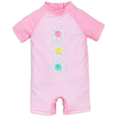 Baby Girl Flower Rashguard Suit - Pink Stripe - 6/9