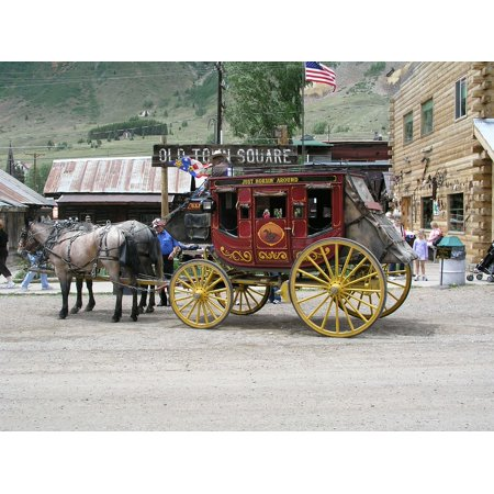 LAMINATED POSTER Silverton Wild West Stage Couch Stagecoach Poster Print 24 x 36 (Wild West Wanted Poster)