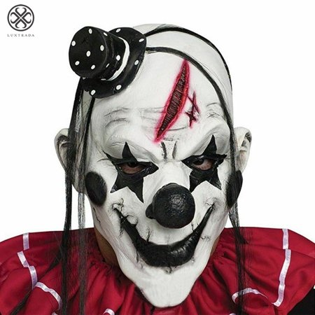 Creepy Masks Halloween (Luxtrada Evil Scary Clown Mask Halloween Cosplay Costume Props Creepy Soft Latex)