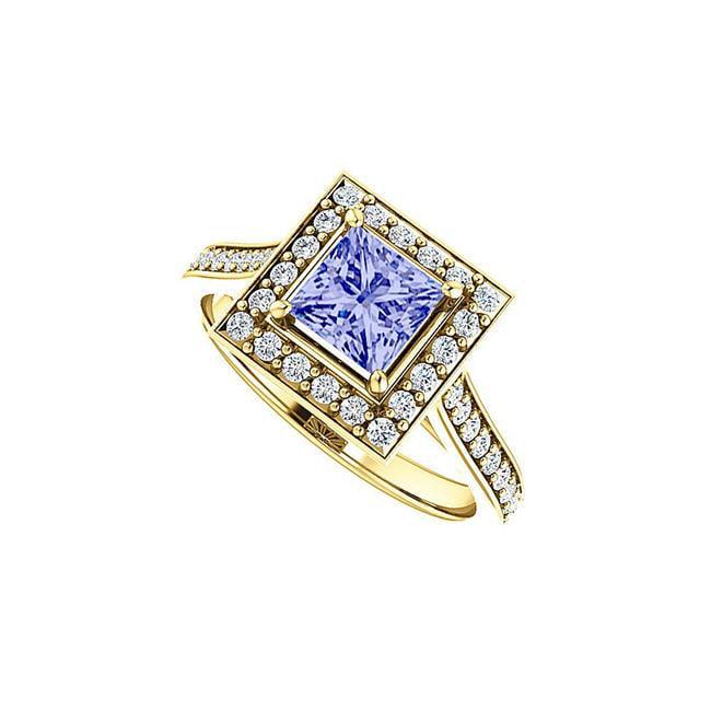1.50 CT 18K Yellow Gold Vermeil Tanzanite Cubic Zirconia Square Halo Ring, Size 6 - image 1 de 1