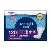 Equate Overnight Incontinence Pads for Women, Ultimate Absorbency, 120 Count