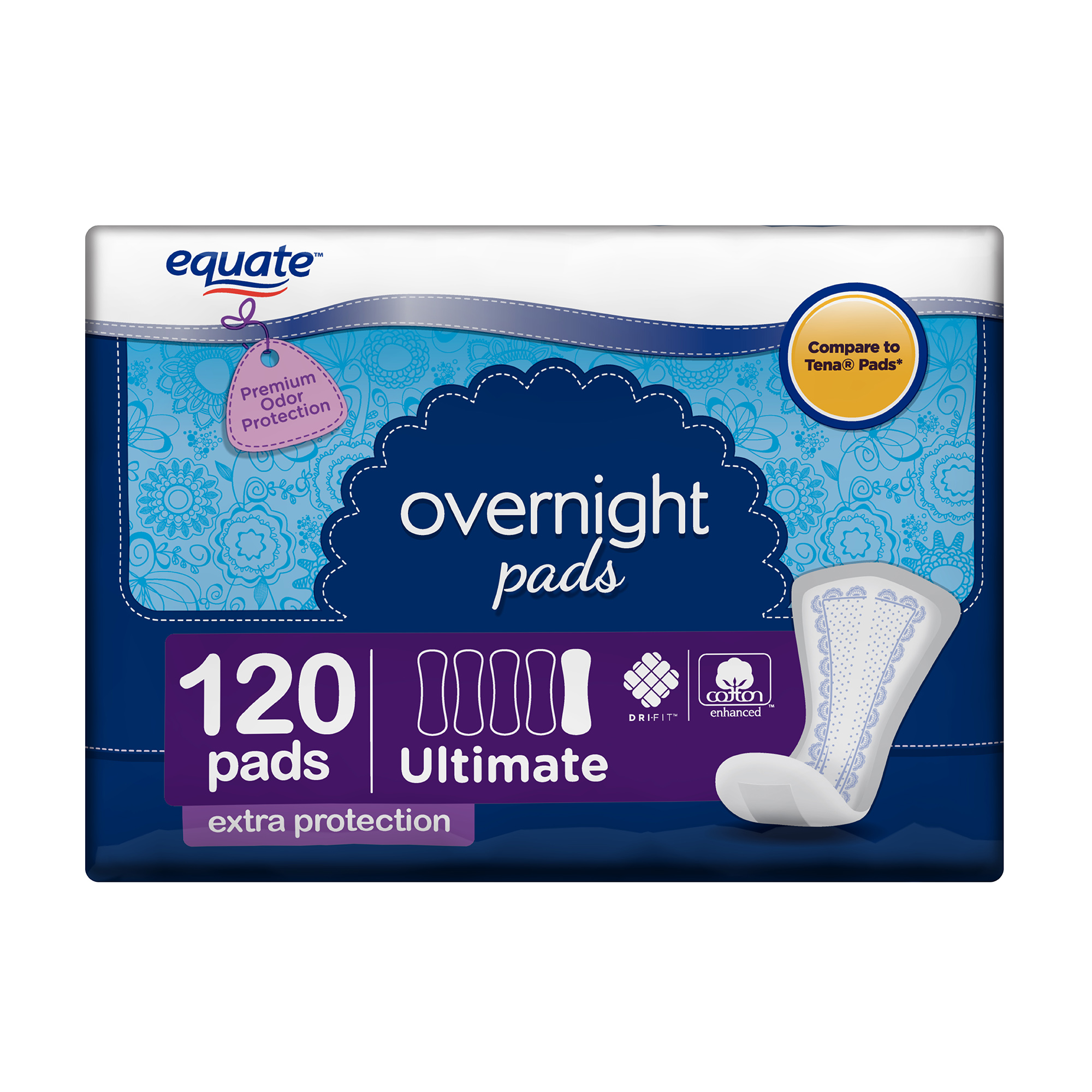 Equate Ultimate Overnight Incontinence Pads for Women, 120 Count