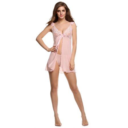 Stylish Women Lady Lace Mesh Dress Lingerie  Underwear Sleepwear G String Set