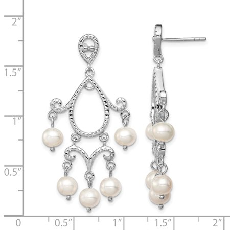 Sterling Silver Rhodium 5-6mm White FWC Pearl Post Dangle Earrings QE12756 - image 1 of 2