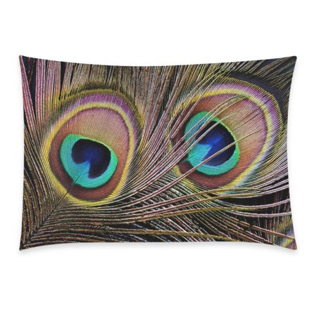 Zkgk Colorful Peacock Feather Closeup Pattern Pillowcase