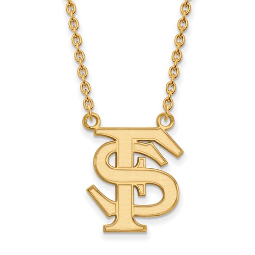 14k Yellow Gold LogoArt Official Licensed Collegiate 18in Florida State University (FSU) Large Pendant w/Necklace