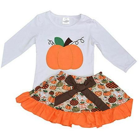 Unique Baby Girls 2 Piece Pumpkin Skirt Halloween & Thanksgiving Fall Outfit (7) - Baby Pumpkin Halloween Outfits