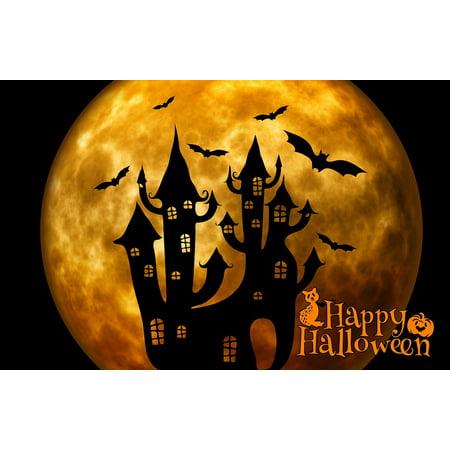 Bat Magic - LAMINATED POSTER Weird Halloween Bat Atmosphere Castle Surreal Poster Print 24 x 36