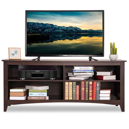 Gymax 58'' TV Stand Entertainment Media Center Console Wood Storage Furniture (3 Piece Media Center)