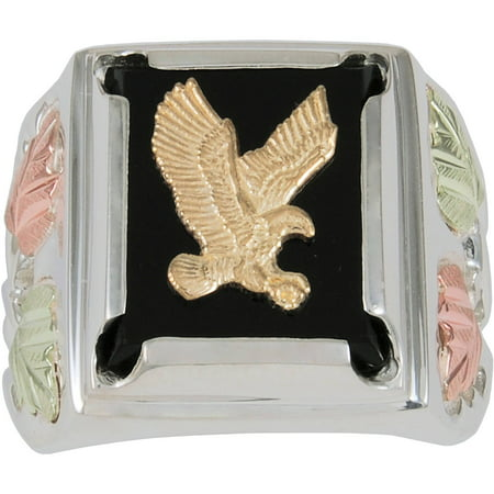 14f5d13ae6d98 Men's Black Onyx Sterling Silver 10kt and 12kt Gold Accented Eagle Ring