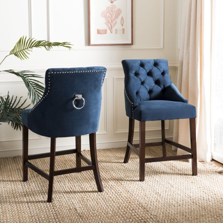 Safavieh Eleni 26 in. H Tufted Wing Back Counter Stool with Ring, Set of 2 ()