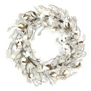 """22"""" Country Rustic Natural Cotton and Pod Artificial Christmas Wreath - Unlit"""