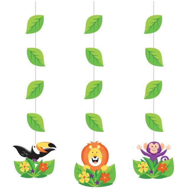 Creative Converting Jungle Safari Hanging Cutouts, 3 ct