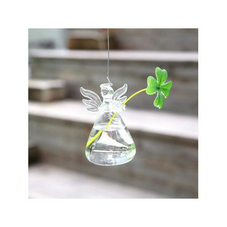 Hanging Angel Glass Vase Flower Planter Pot Terrarium Container Garden Home Decor