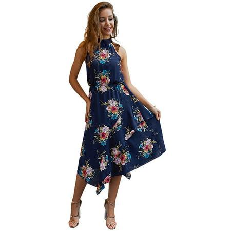 Dress For Women Bohemian Floral Print Vest Midi Dress Summer Casual High Waist Pleated Halter Neck Sleeveless Asymmetrical Beach (Asymmetrical Sleeveless Halter Dress)