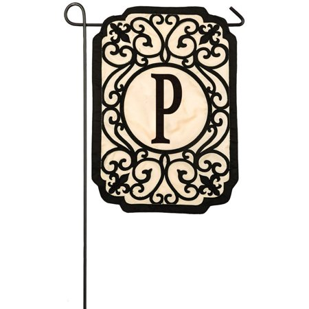 Evergreen Filigree Monogram P Applique Garden Flag, 12.5 x 18 inches, Welcome guests to your home with this personalized flag By Evergreen Flag from USA