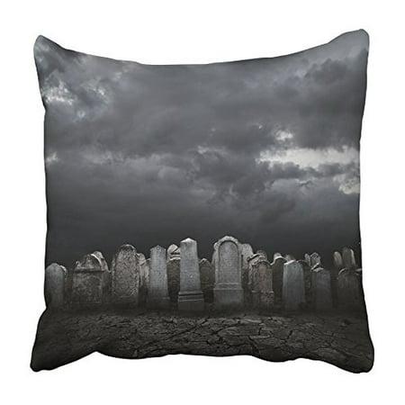 CMFUN Black Cemetery Graveyard at Night Halloween Concept Grave Dark Zombie Scary Pillowcase Cushion Cover 20x20 inch](Halloween Cemetery)