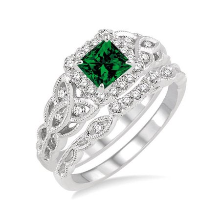 Bestselling 1.50 Carat Princess cut Emerald and Diamond Bridal Set in 10k White Gold affordable emerald and diamond engagement
