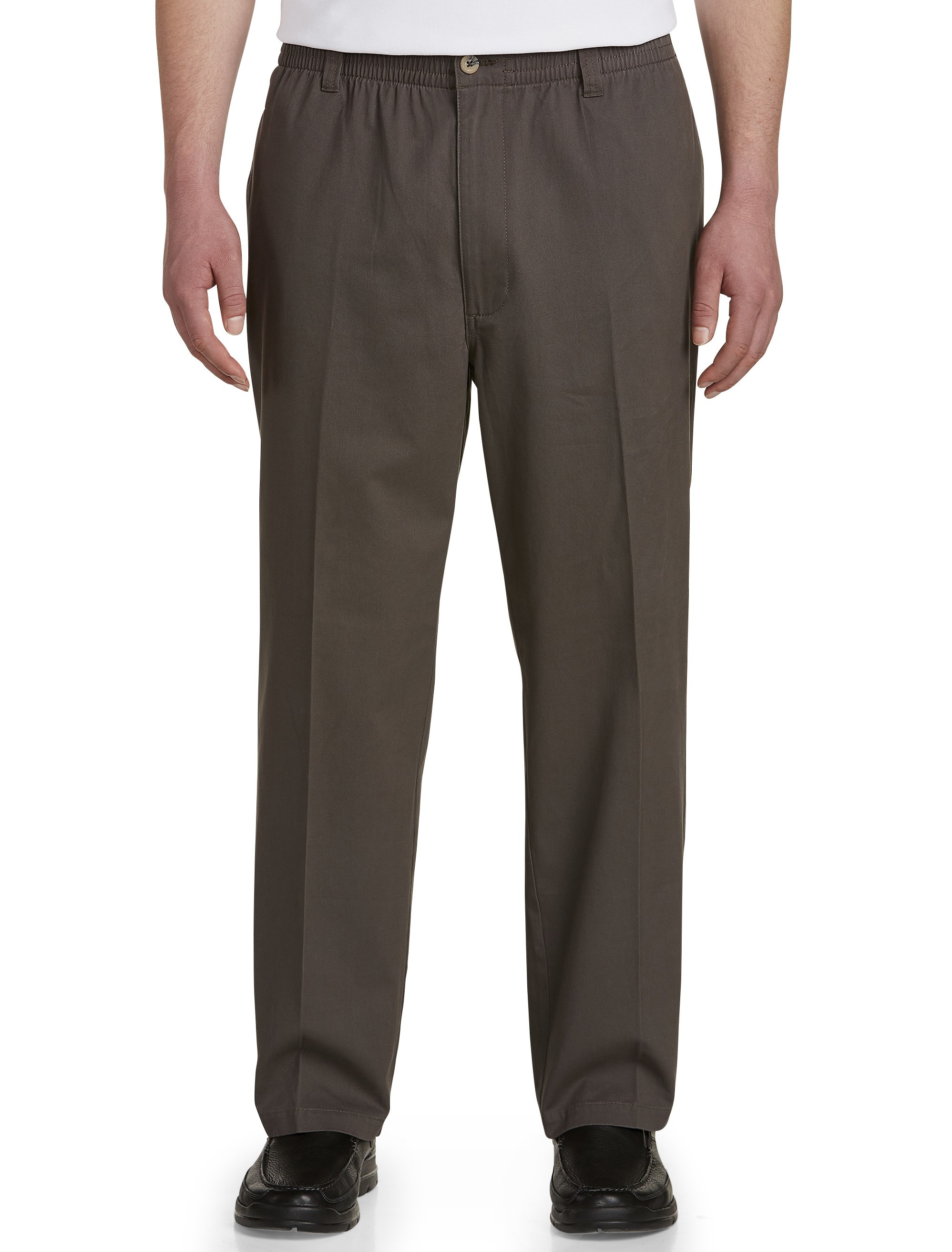 Men's Big & Tall Harbor Bay Elastic-Waist Twill Pants – Unhemmed