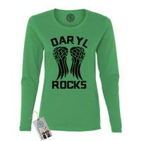 The Walking Dead Darl Rocks Wings Womens Long Sleeve Shirt & Magnet