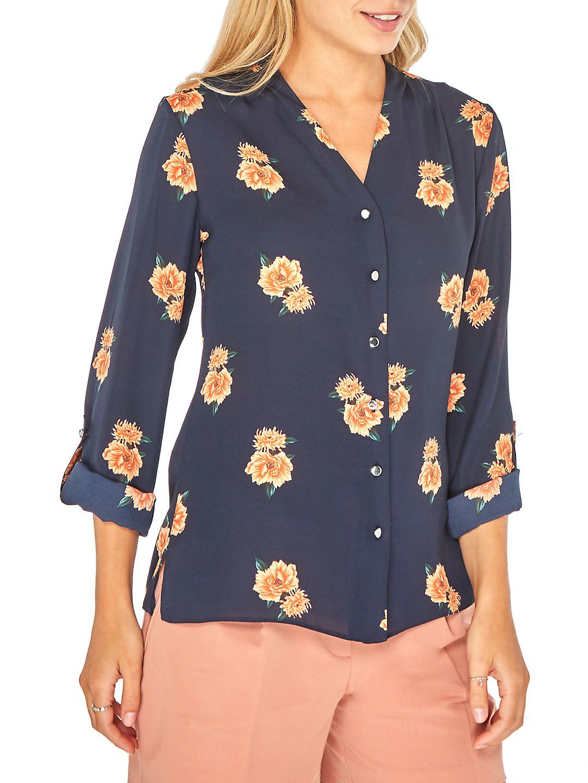 Julia Floral Roll-Sleeve Shirt