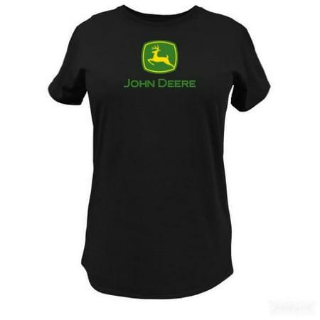 John Deere Womens JD Glitter Logo Tee (Small, Black) (John Deere Tall)