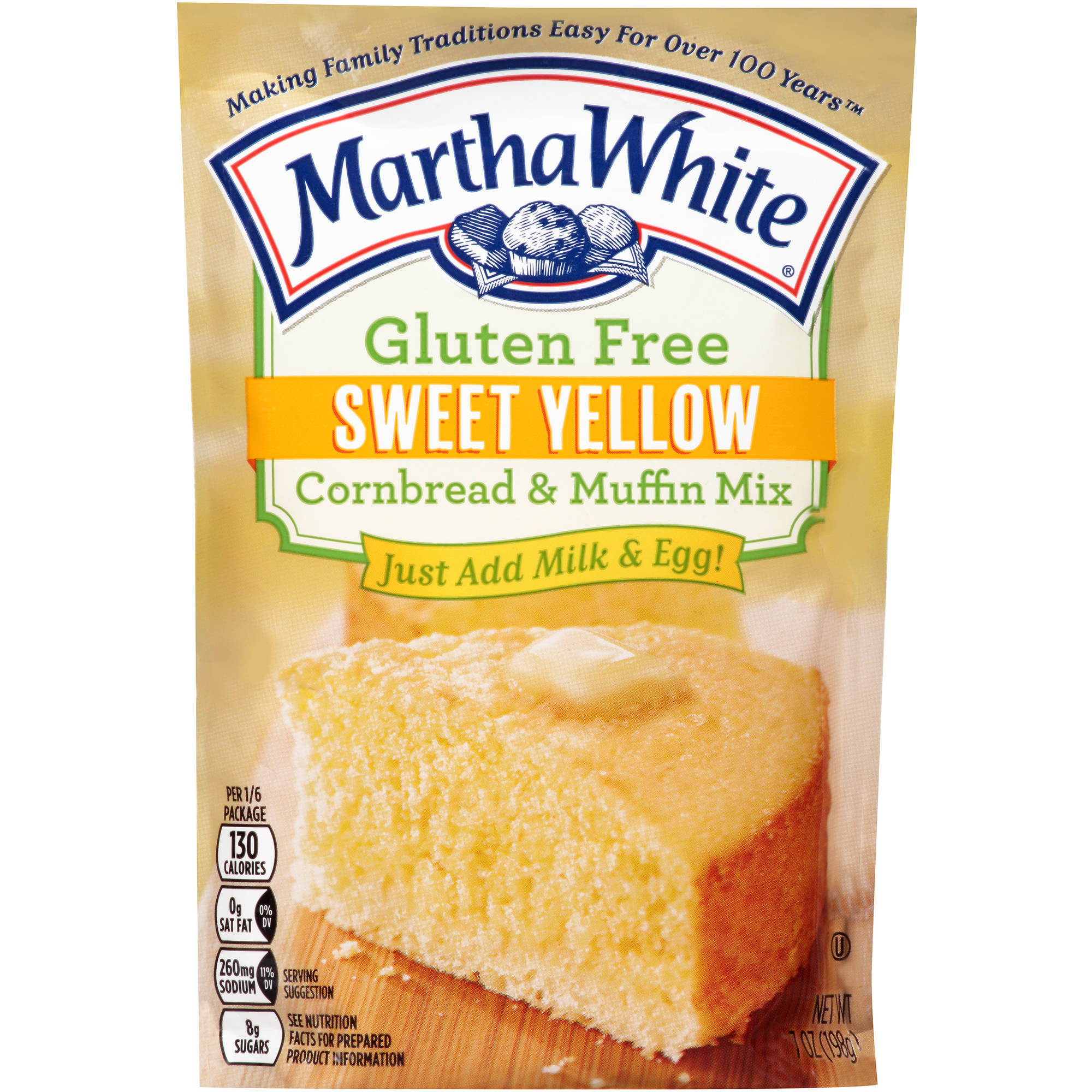 Martha White Gluten Free Sweet Yellow Cornbread & Muffin Mix, 7 Ounces