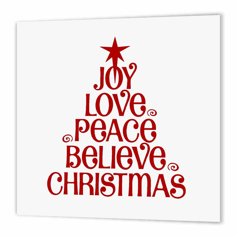 3dRose Joy Love Peace Believe Christmas, Iron On Heat Transfer, 6 by 6-inch, For White Material