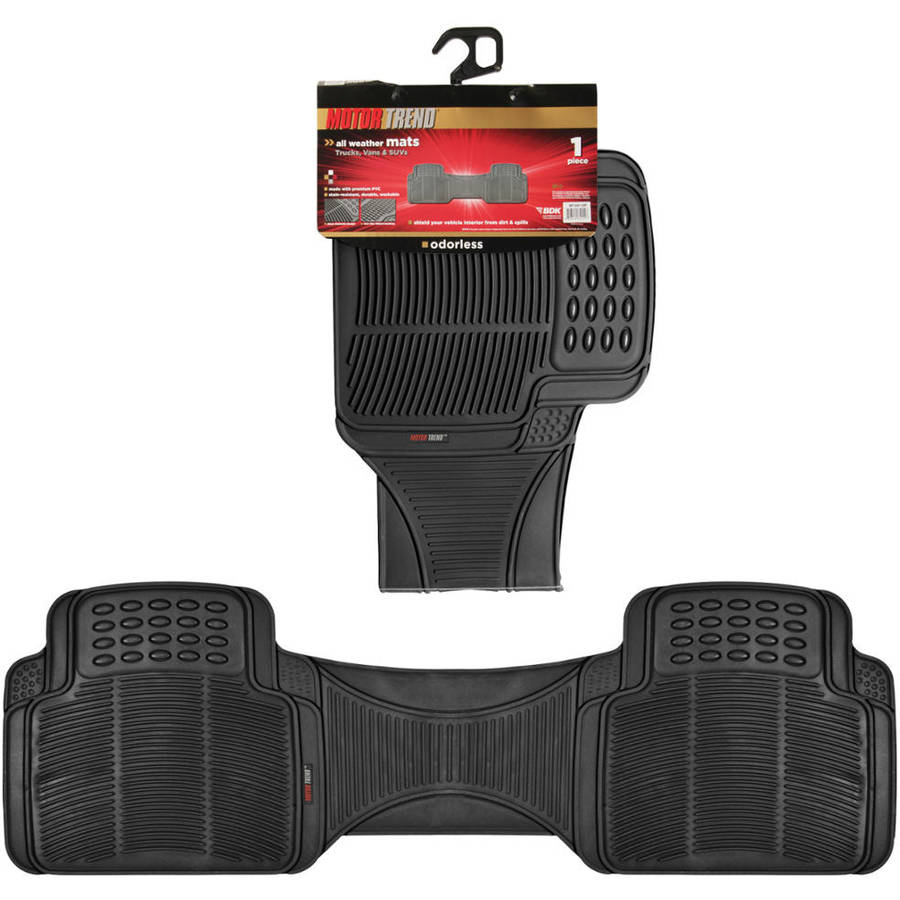 Motor Trend 1 PC Premium Odorless Car Floor Mat Liner, Trimmable, Black