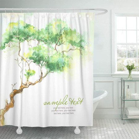 CYNLON Garden Green Leaf Watercolor Trees and Text ese Root Bathroom Decor Bath Shower Curtain 66x72 inch