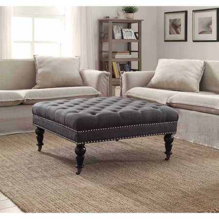 Linon Isabelle Linen Square Tufted Ottoman, Multiple Colors