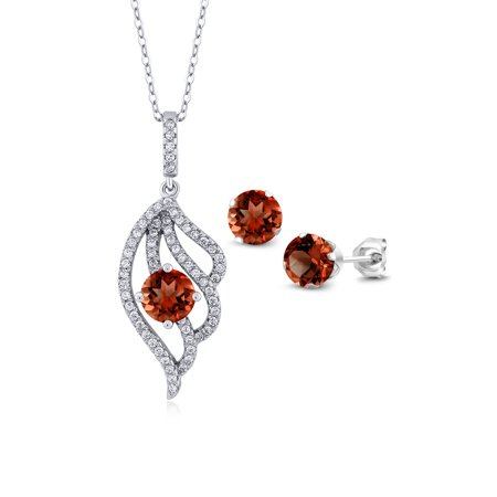 - 3.72 Ct Round Red Garnet 925 Sterling Silver Pendant Earrings Set