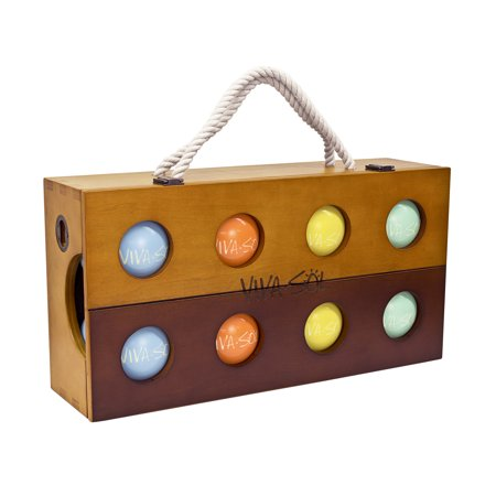 Wooden Bocce Balls (Viva Sol Premium Resin Bocce Ball Set with Wooden Case for Outdoor Play with Two to Eight)