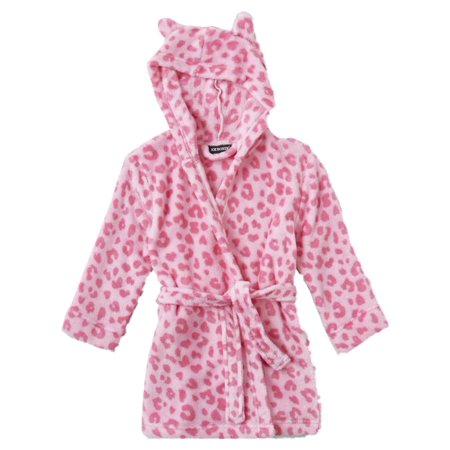 Joe Boxer - Toddler Girls Plush Hooded Pink Leopard Print Bathrobe Bath Robe  Housecoat 3T - Walmart.com 2059ee34a