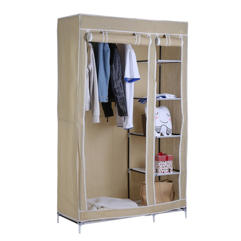 69 Inch Portable Fabric Closet Storage Organizer Clothes Wardrobe Shoe Rack with Cover Shelves