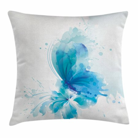 Watercolor Throw Pillow Cushion Cover, Abstract Blue Butterfly on a Blooming Flower Romantic Artistic Design, Decorative Square Accent Pillow Case, 16 X 16 Inches, Blue Sky Blue White, by Ambesonne ()