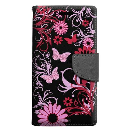 best website f4556 156b8 LG G6 Wallet Case - Pink Butterfly on Black Case