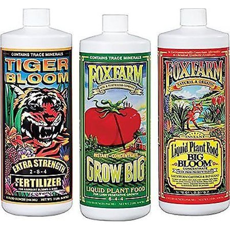 Image of FoxFarm FX14050 Big Bloom, Grow Big & Tiger Bloom Liquid Fertilizer Nutrient Trio Hydro-Formula, 3/32-Ounce Bottles