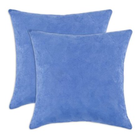 Soft Down Throw Pillows : Chooty & Co. Passion Suede Soft Blue 17-inch Decorative Throw Pillows (Set of 2) - Walmart.com