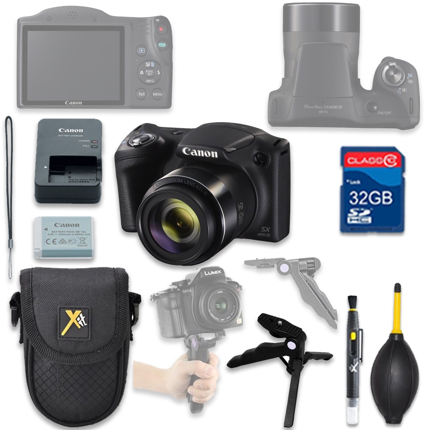 Canon PowerShot SX420 HS Digital Camera(black) with 32GB SD Memory Card + Accessory Bundle