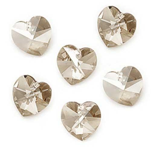 Swarovski Crystal, #6228 Heart Pendants 10mm, 6 Pieces, Crystal Silver Shade