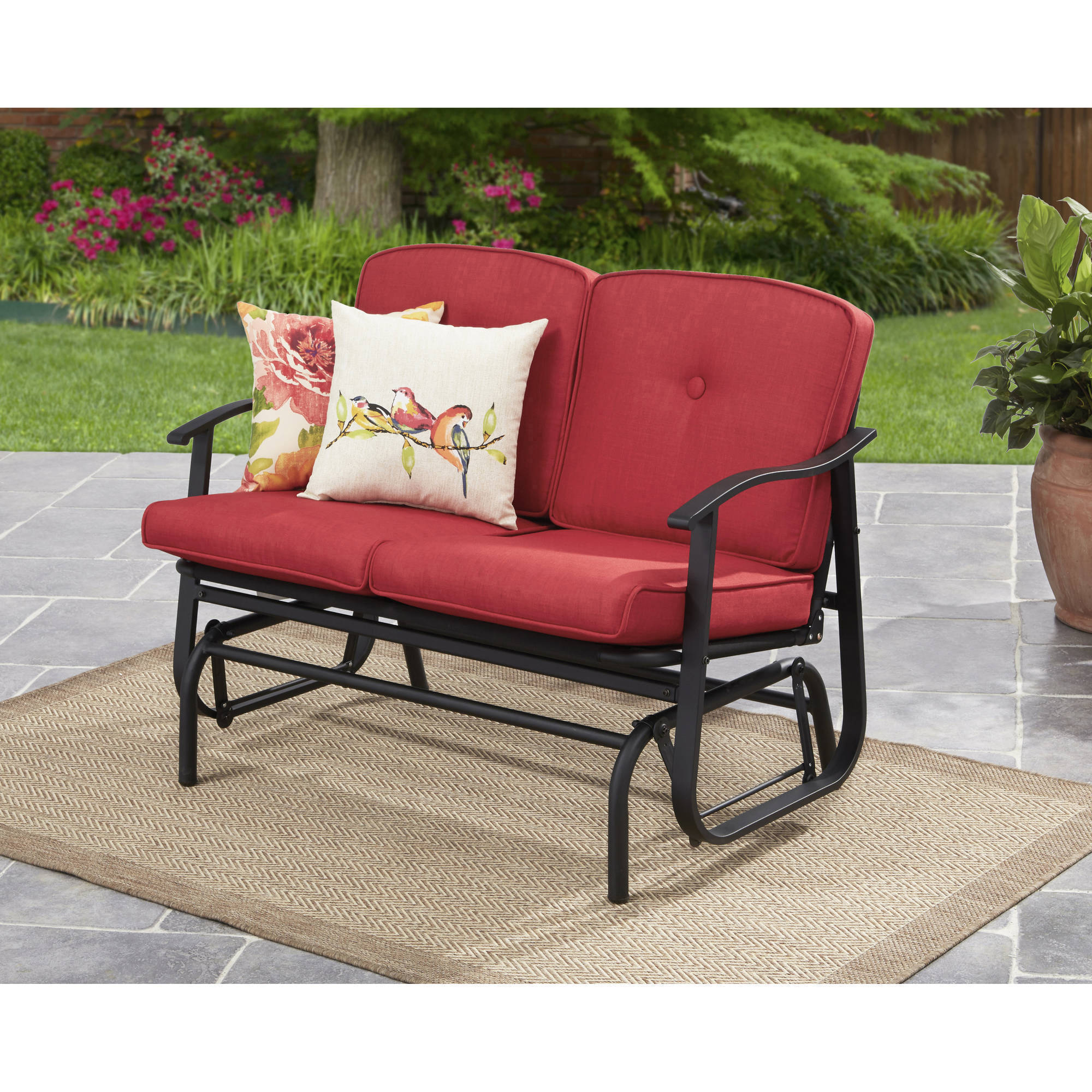 Mainstays belden park outdoor loveseat glider with cushion walmart com