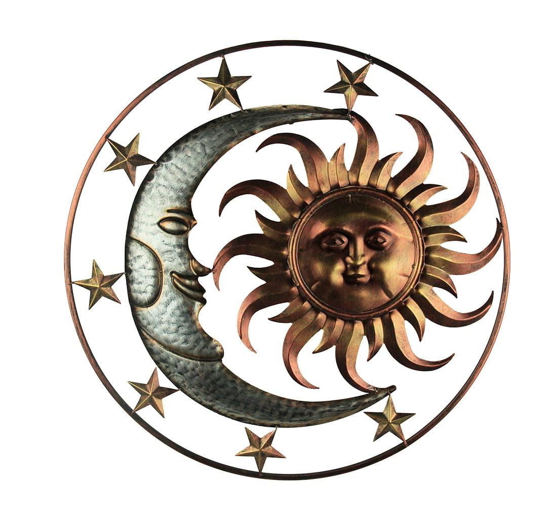 Metal Celestial Sun Moon and Stars Indoor/Outdoor Wall Sculpture