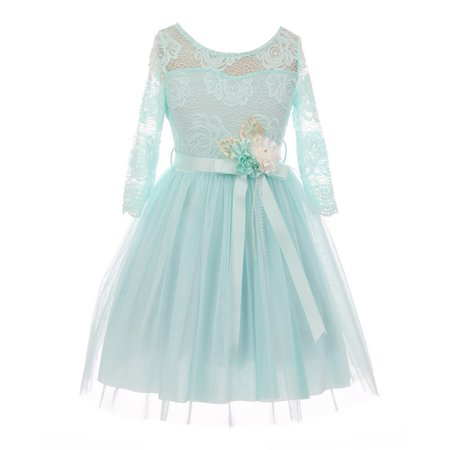 Girls Mint Lace Tulle Handmade Flower Easter Dress - Well Made Costumes