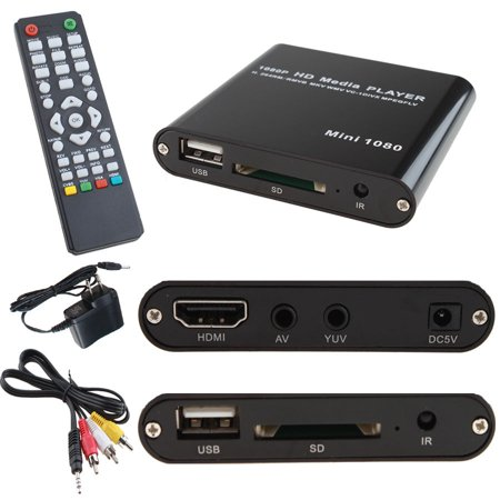 AGPtek 1080P Full HD Digital Media Player MKV/RM-SD/USB HDD-HDMI Support HDMI CVBS and YPbPr Output with Remote