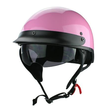 Beanie Cruiser DOT Motorcycle Half Helmet with Flip Up Visor Gloss Pink Pink Flames Half Helmet