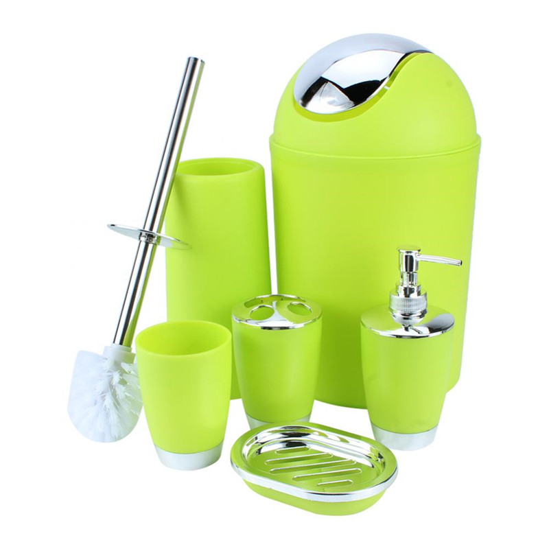 Hilitand 6Pcs Bathroom Accessory Set Luxury Bath Set Collection Features Toothbrush Holder,Soup Holder, Soap Dish Dispenser, Bin and Toilet Brush Set (Green)